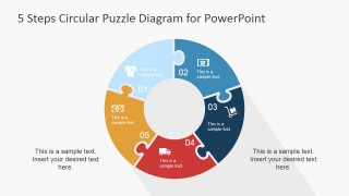 PowerPoint Diagram Featuring 5 Steps Puzzle Pieces