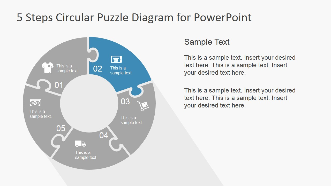 PowerPoint Puzzle Circular Diagram 5 Steps