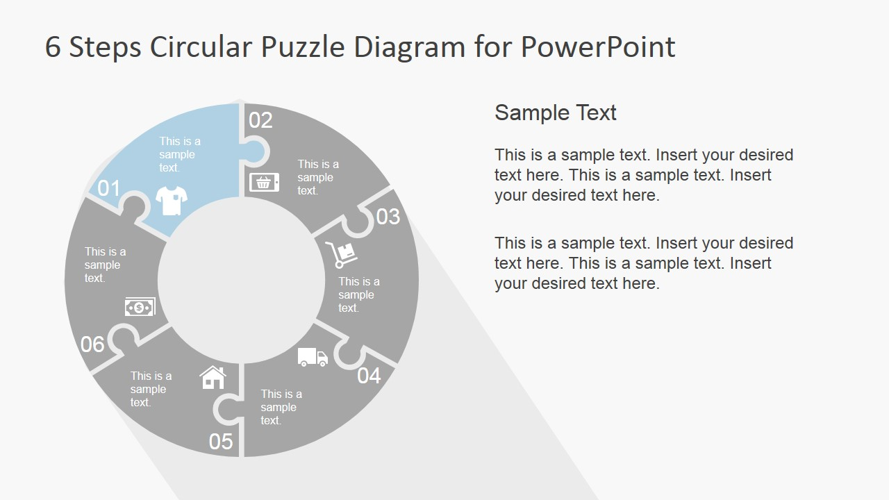 6 Step Circular Puzzle Diagram Template for PowerPoint ...