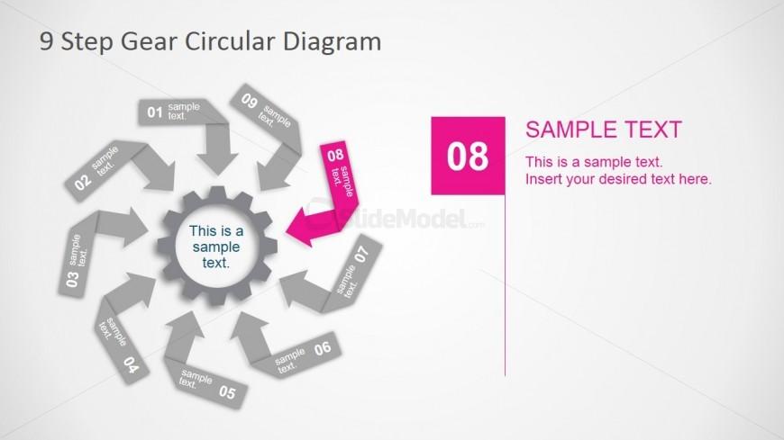 PowerPoint Diagram Design Based on Arrows and Gear Clipart