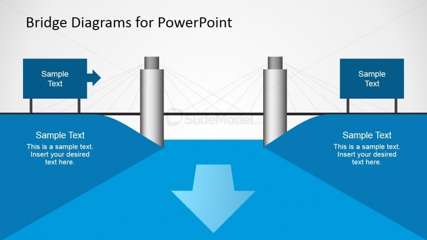 PPT Template with Suspension Bridge Diagram Graphic