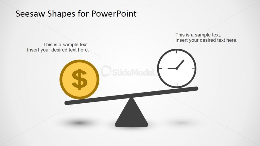 Money and Time Concept Balancing on Seesaw for PowerPoint