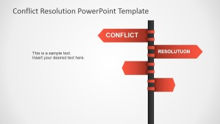 PowerPoint Clipart of Traffic Sign with Opposing Paths