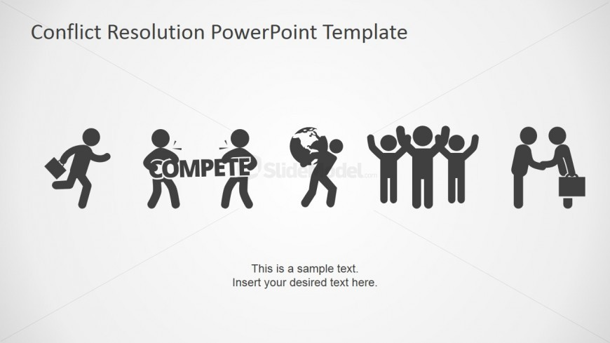 Powerpoint Icons Featuring Conflict Resolution Slidemodel