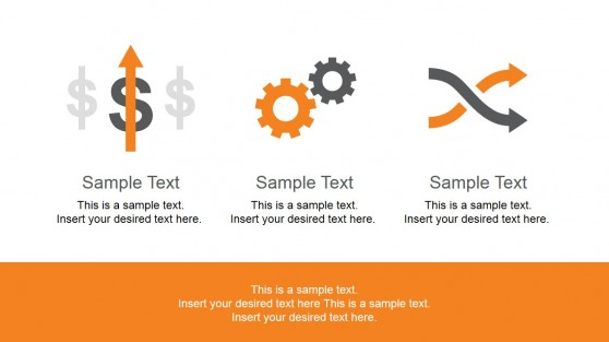 Business Process Icons Orange Background Template