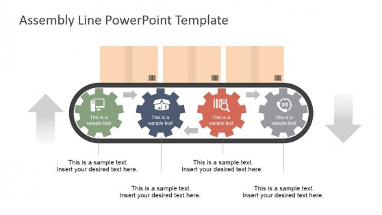 Assembly Line Shapes Four Steps Gears for PowerPoint