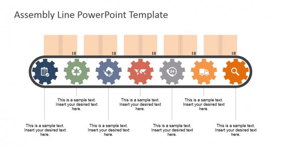 Gears and Icons Shapes for PowerPoint in Assembly Line