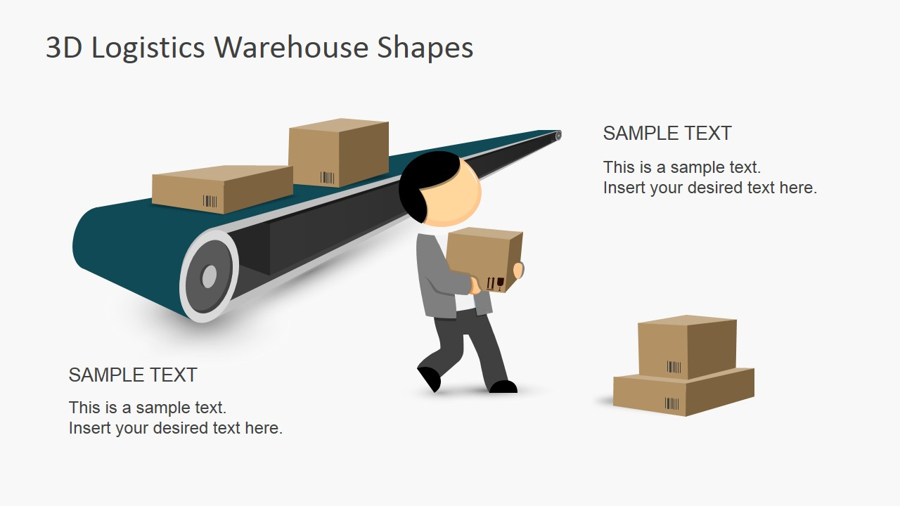 3d logistics warehouse powerpoint shapes