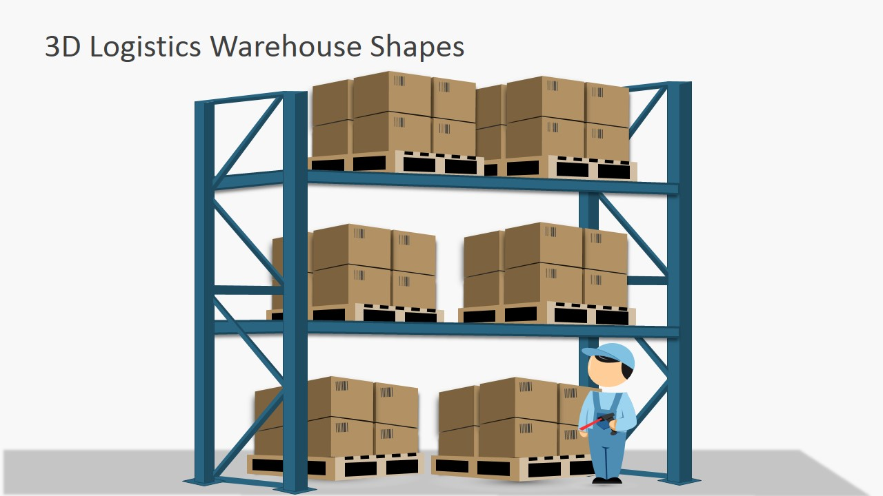 Box pallets in warehouse shelves for powerpoint slidemodel for Warehouse racking layout software free