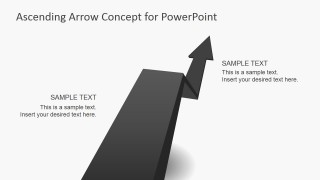 3D Asphalt Shape Design for PowerPoint with Rising Arrow