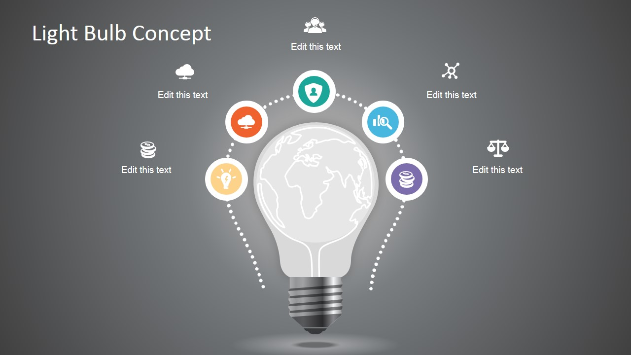 minimal style light bulb concept for powerpoint