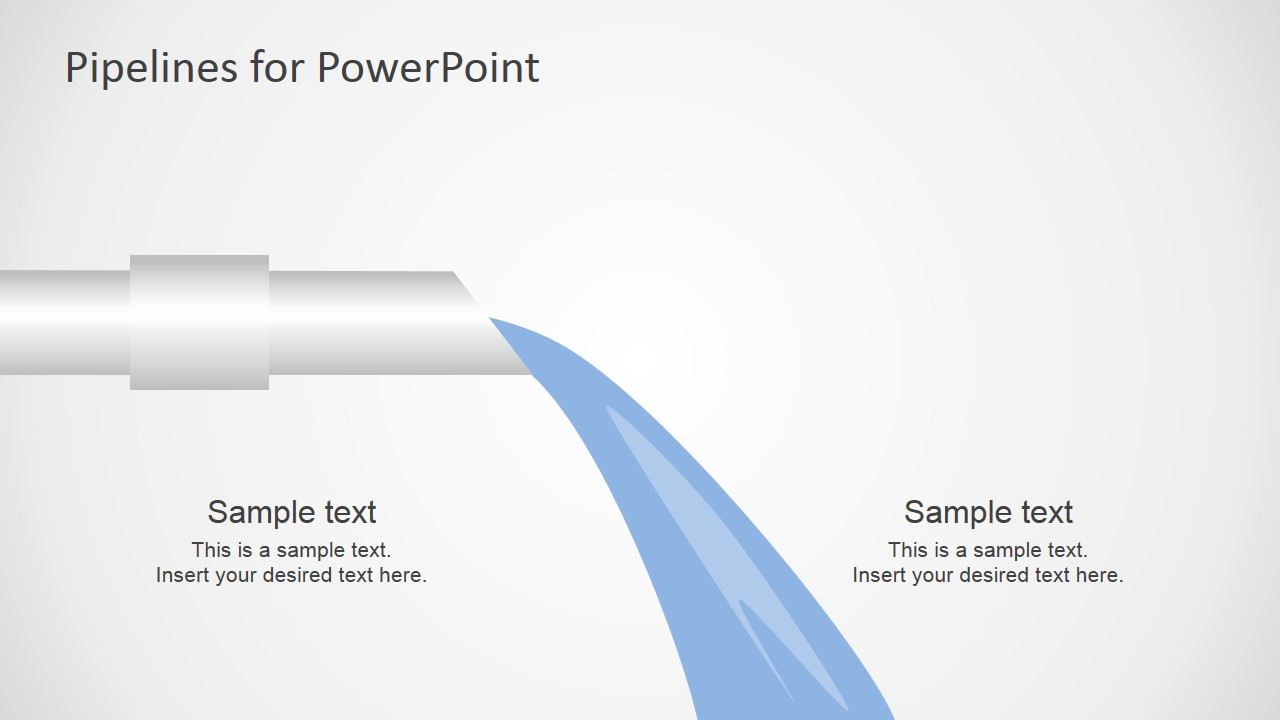 PowerPoint Shapes of Pipeline and Water Flow