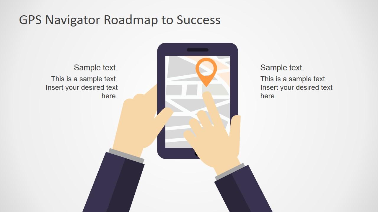 Gps navigator roadmap powerpoint template slidemodel powerpoint shapes of tablet and gps toneelgroepblik Images