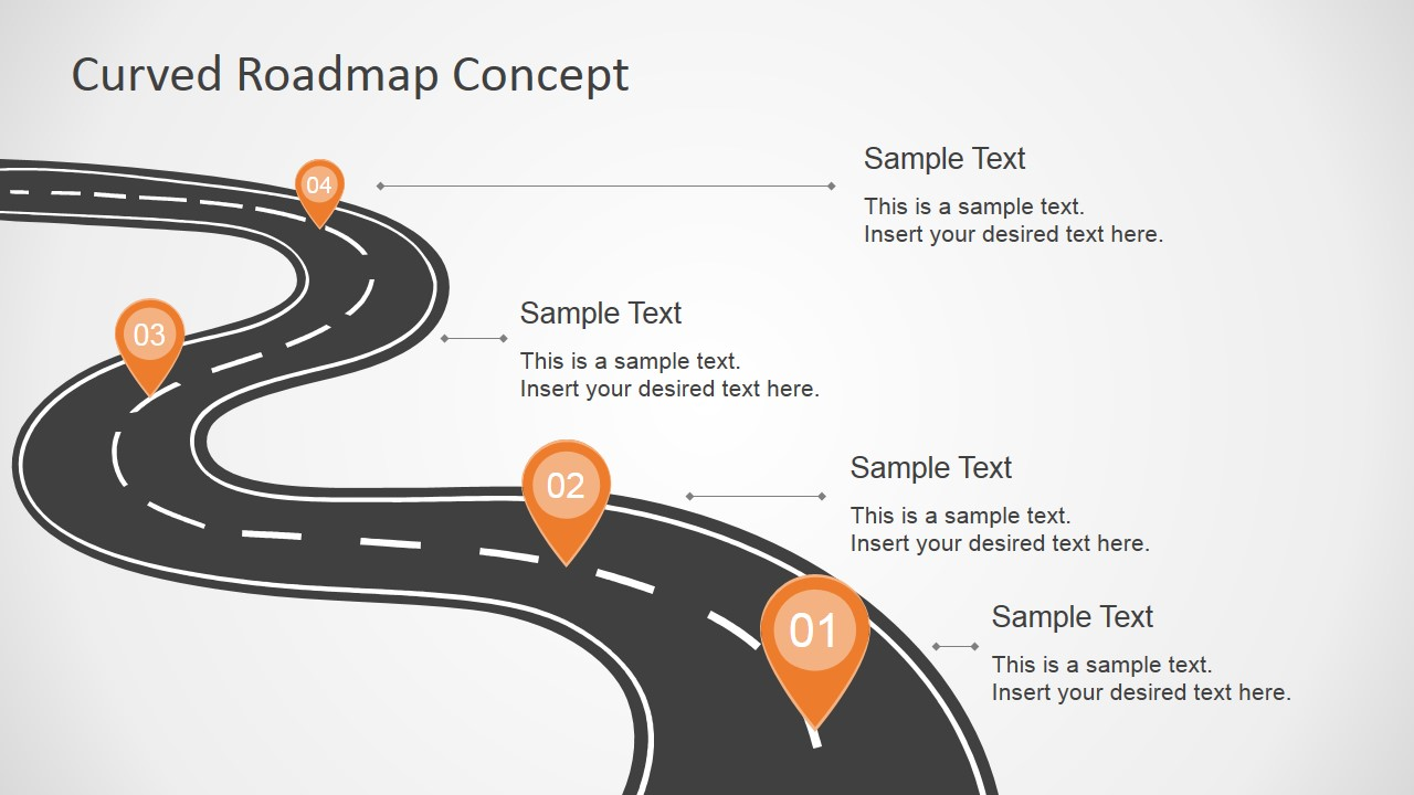Curved road map concept for powerpoint slidemodel for Road map powerpoint template free
