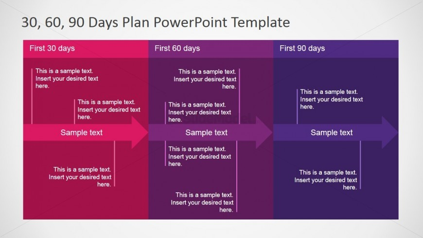 PowerPoint Diagram 30 60 90 Days Plan Detail