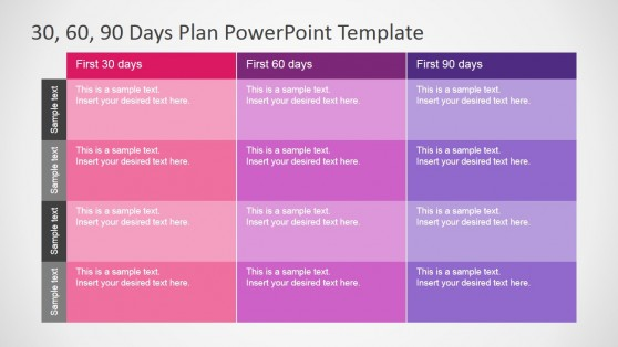30 60 90 Days Plan Table Diagram for PowerPoint
