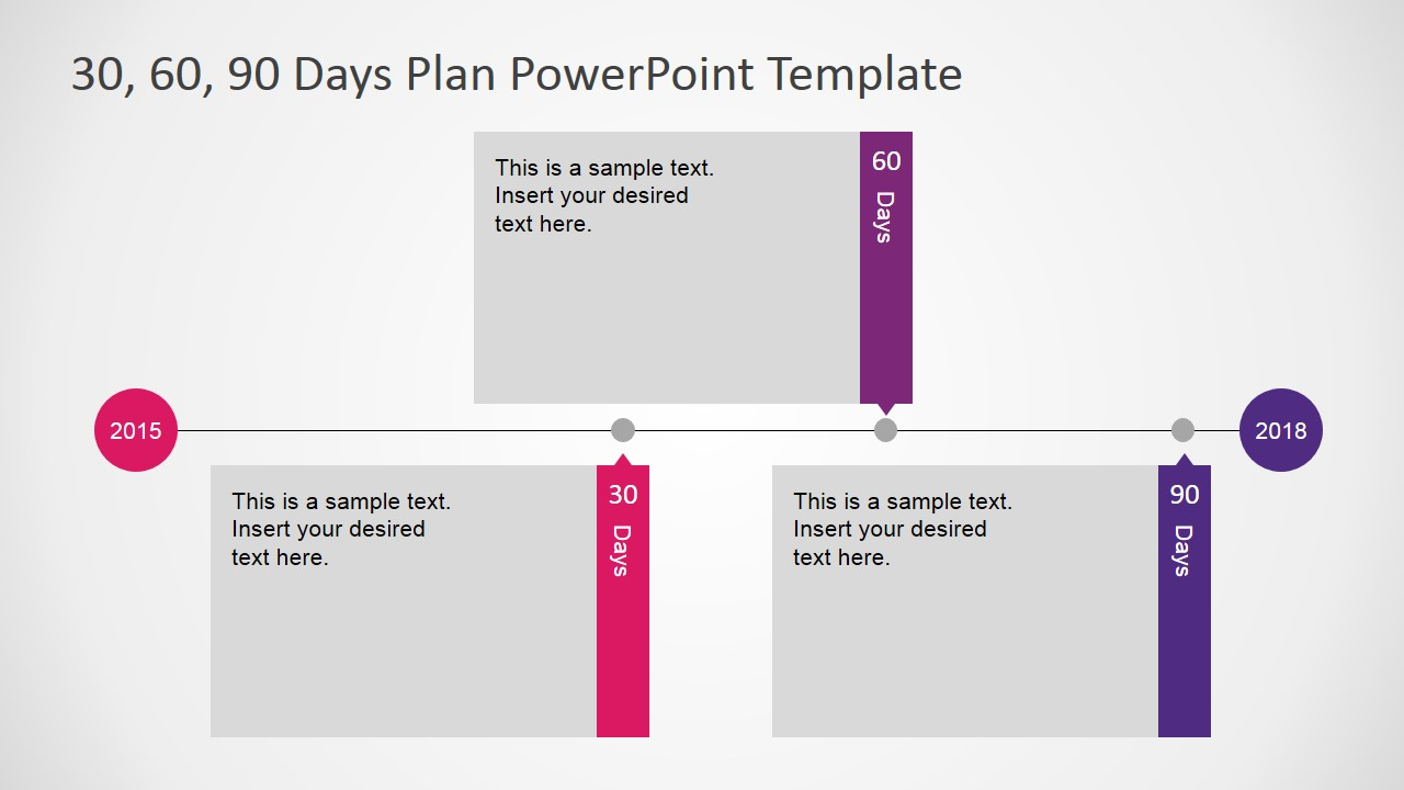 Flat Design PowerPoint Timeline Diagram for 30 60 90 Days Plan – Sample 30 60 90 Day Plan