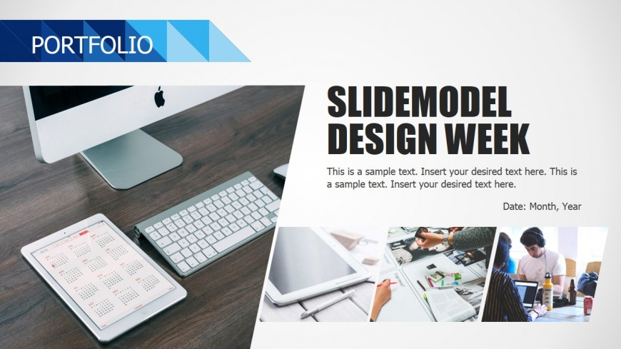 PPT Portfolio Design Blue Background Business Deck