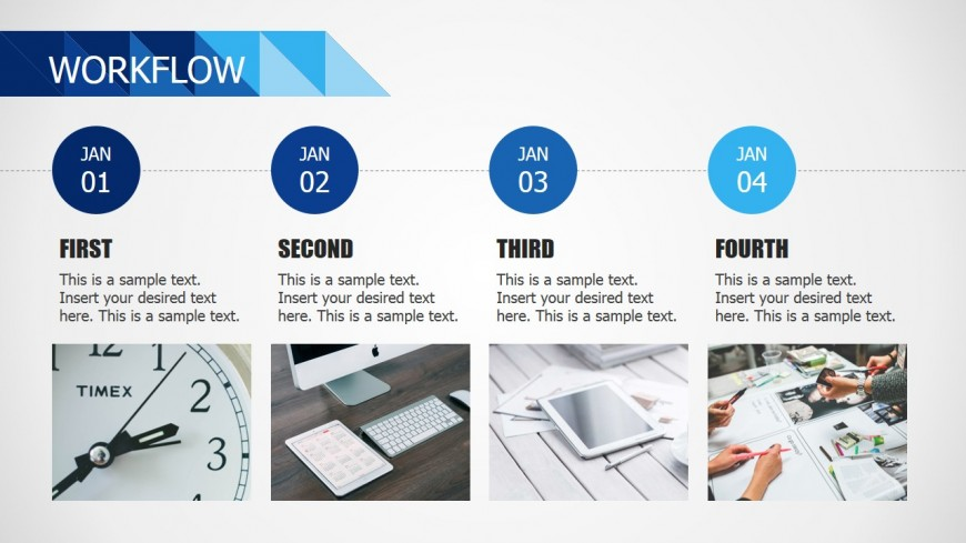 Horizontal Four Steps Workflow For Powerpoint Slidemodel