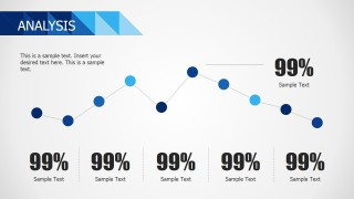 PPT Line Chart Flat Design Blue Theme