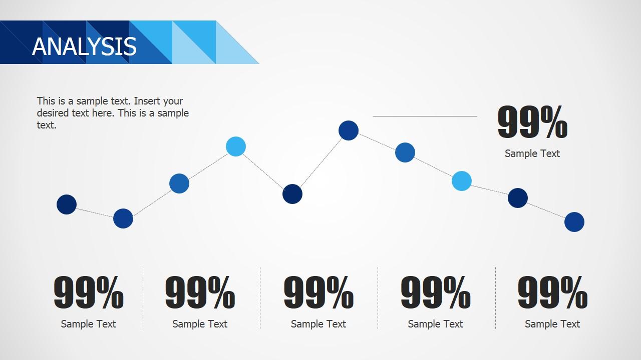 PPT Line Chart Flat Design Blue Theme