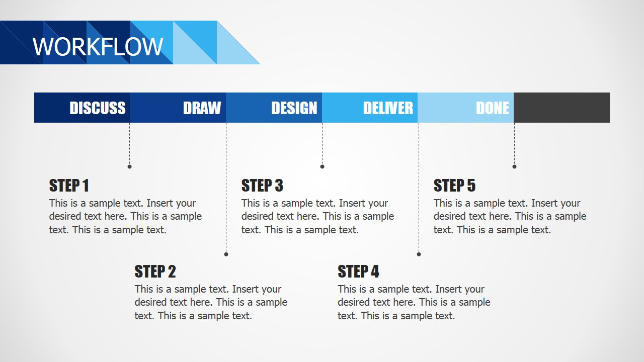 PowerPoint Five Steps Workflow for Business