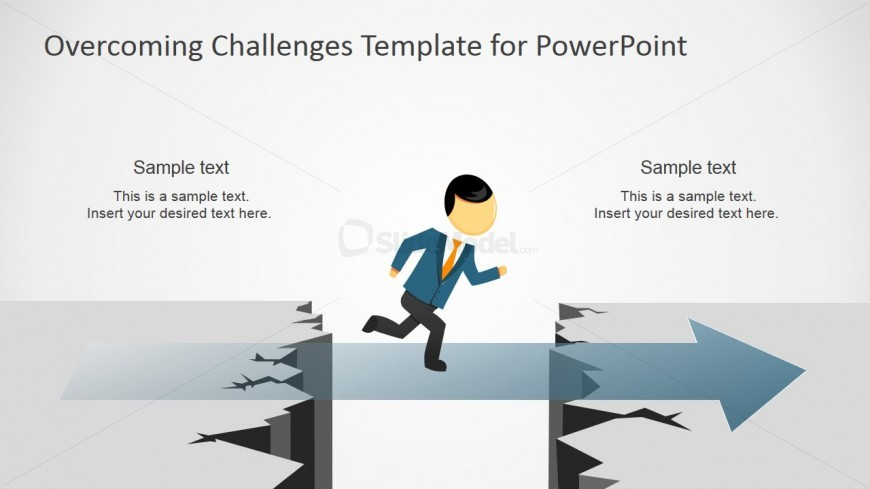 PowerPoint Clipart Metaphor of Crossing the Chasm without Support