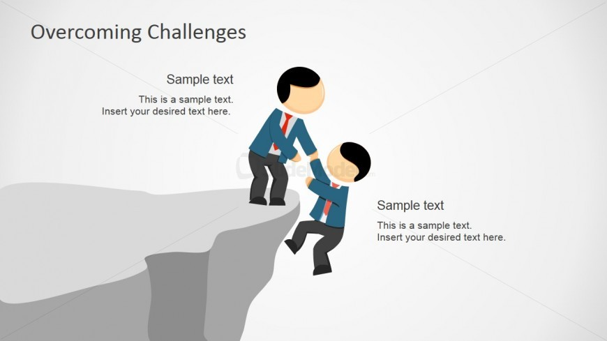 Powerpoint Shapes Showing Help Over The Cliff Slidemodel
