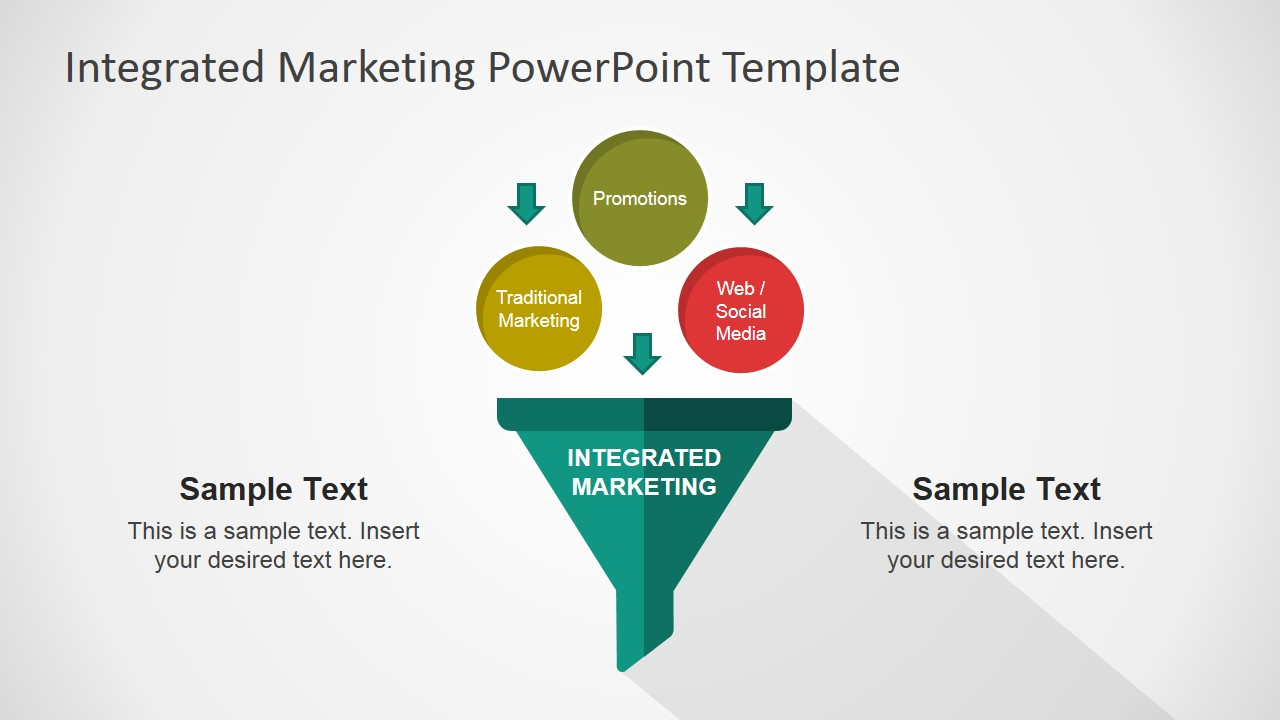 PowerPoint Shapes For Integrated Marketing Communications Flat Funnel Diagram