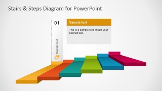 PowerPoint Diagram Stairs First Step Highlight