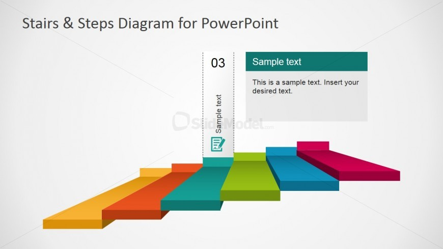 PowerPoint 6 Steps Stairs Diagram Third Step Highlight
