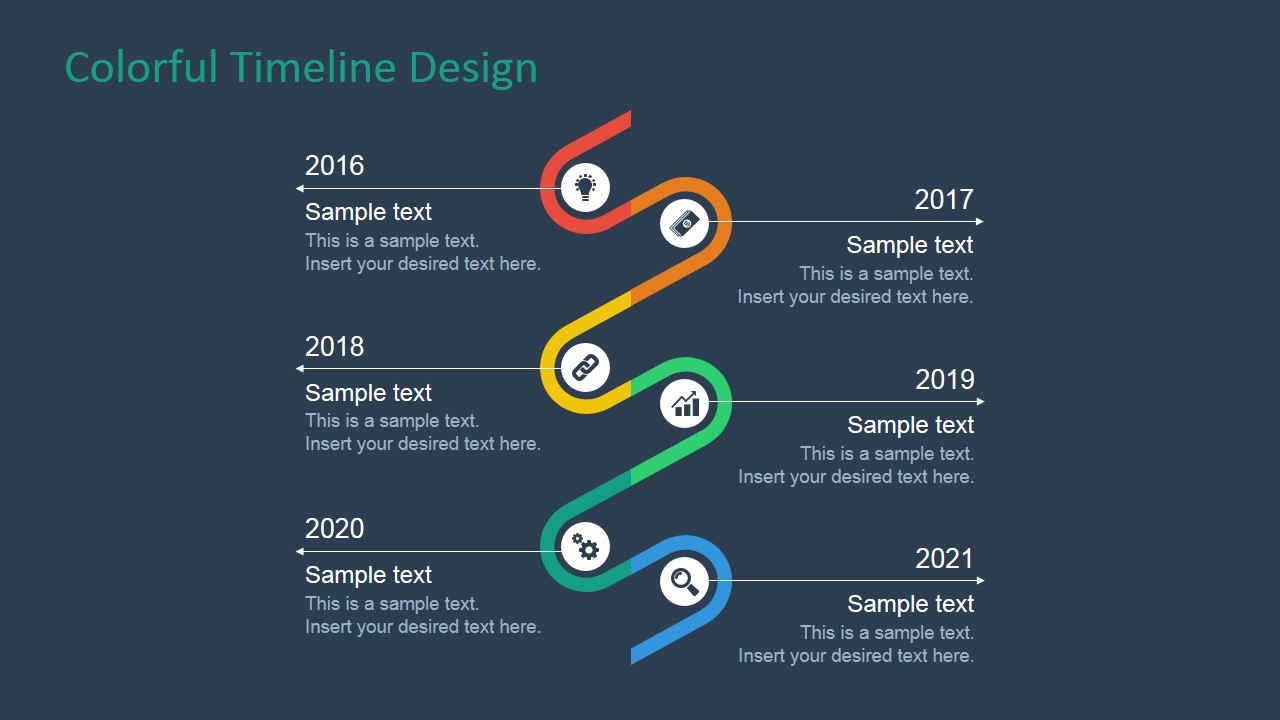 Colorful Timeline Design For PowerPoint SlideModel
