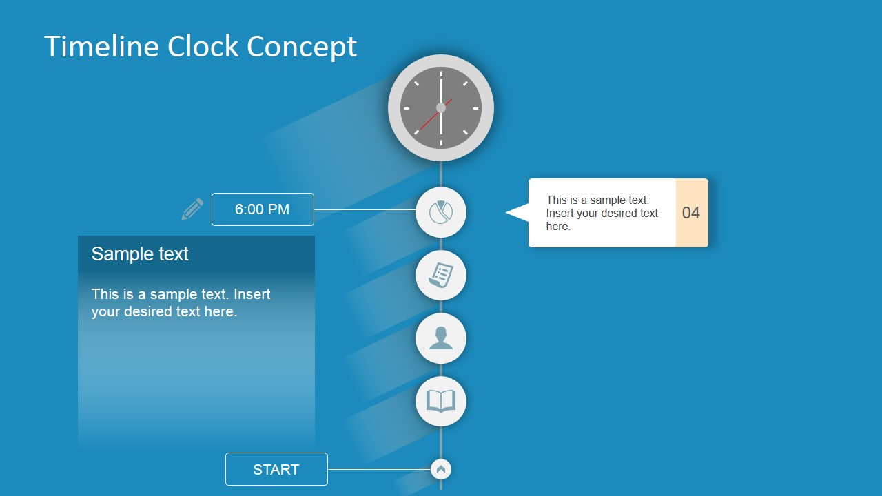 Clock Clipart Timeline Template PowerPoint