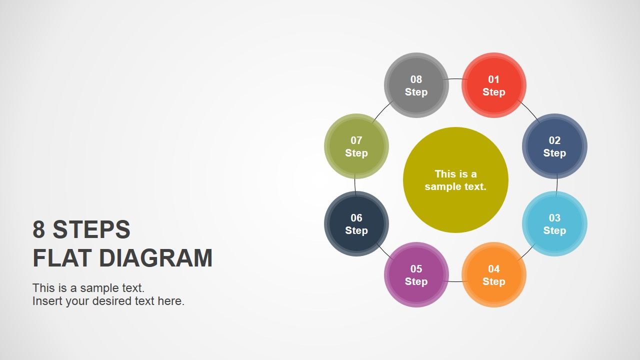 8 Step Flat Diagram For Powerpoint