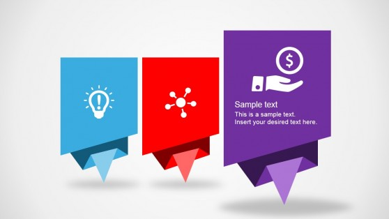 3 Steps Diagram Origami Look and Feel for PowerPoint
