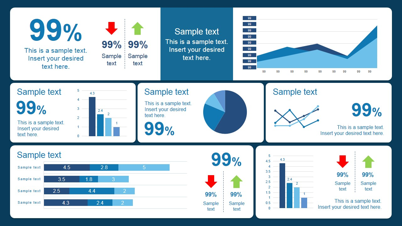 Scorecard Dashboard PowerPoint Template Blue Design