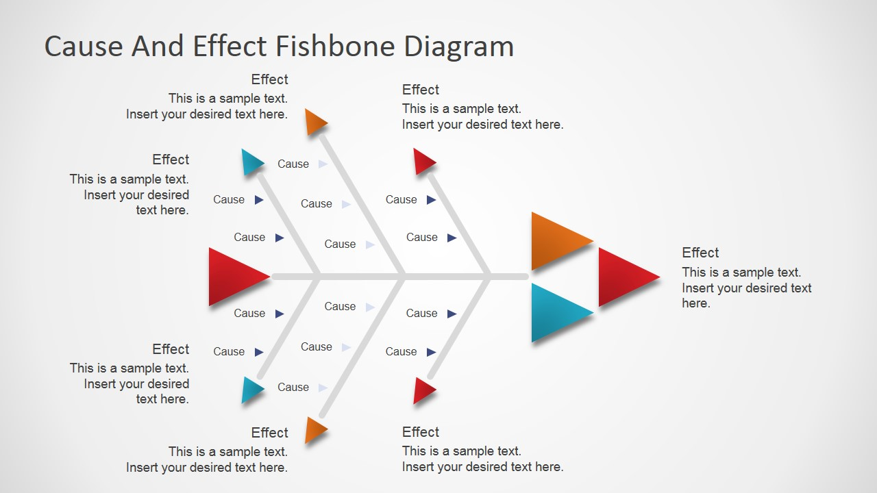 Flat fishbone diagram for powerpoint slidemodel powerpoint fishbone diagram with arrow designs ccuart Choice Image