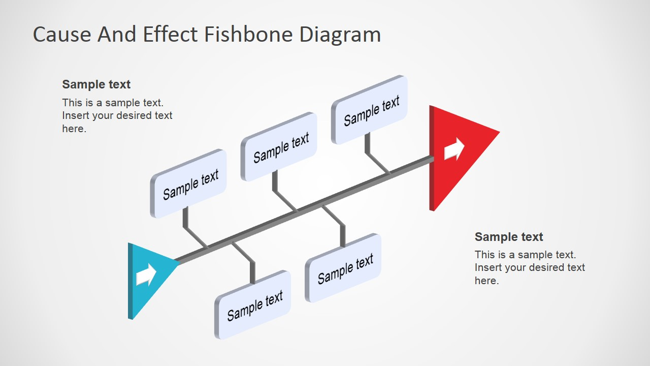 Fishbone Diagram PowerPoint 3D Perspective