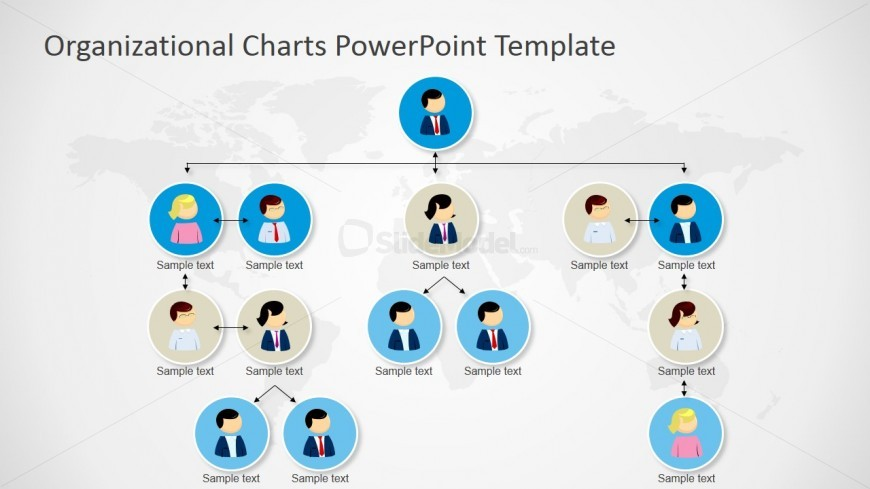 power point org chart template - powerpoint orgchart tree structure four levels slidemodel