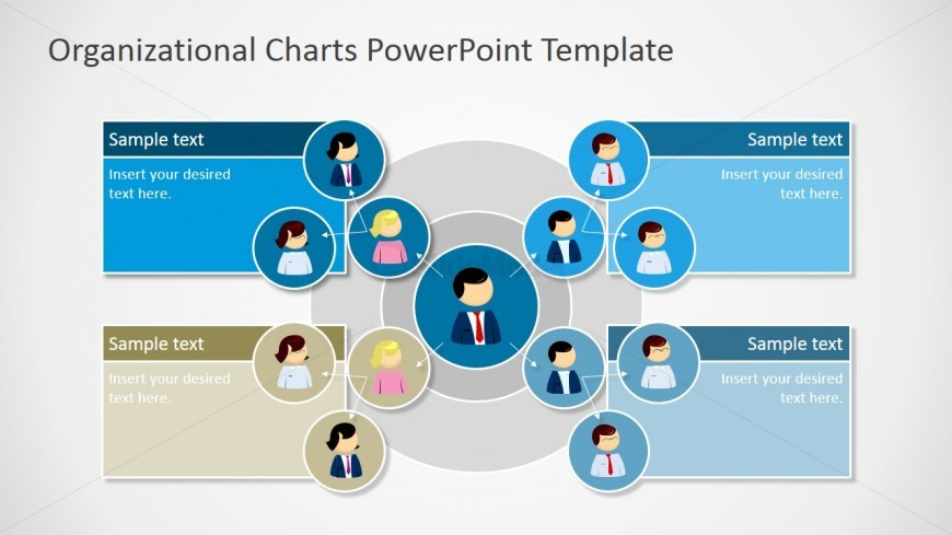 power point org chart template - circular organizational chart for powerpoint slidemodel