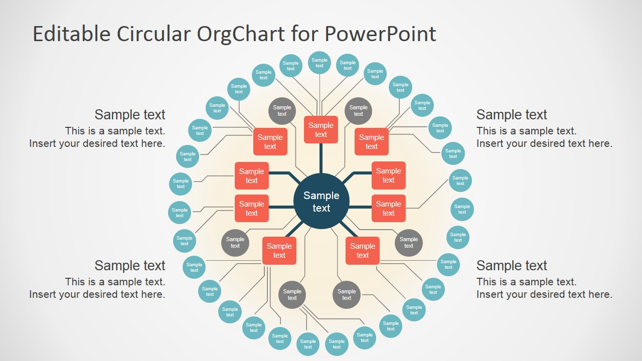 Editable circular org chart slidemodel for Power point org chart template