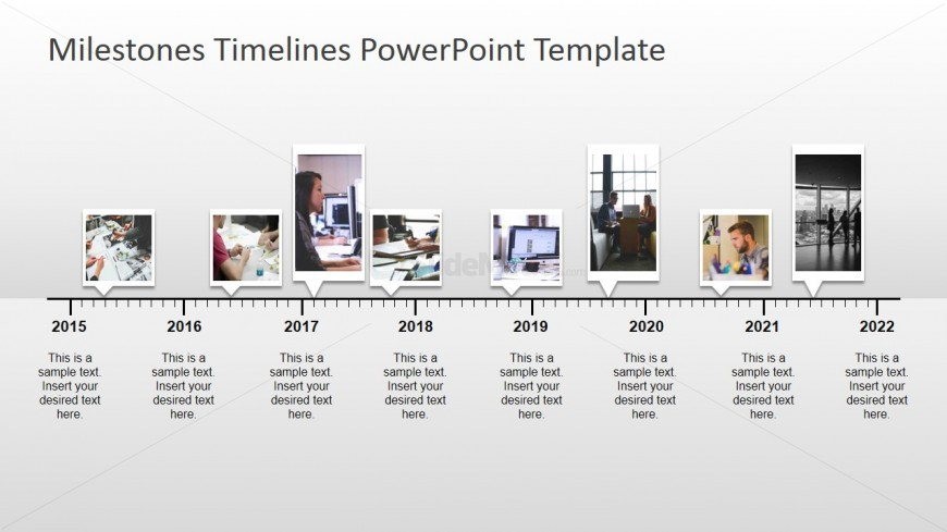 Timeline with pictures milestones for powerpoint slidemodel for Milestone chart templates powerpoint
