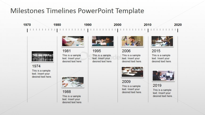 Timeline pictures board design for powerpoint slidemodel for Milestone chart templates powerpoint
