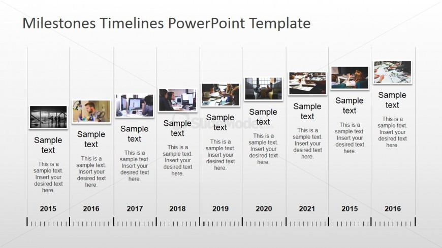 Powerpoint timeline with pictures slidemodel yearly timeline for powerpoint with photos toneelgroepblik Images