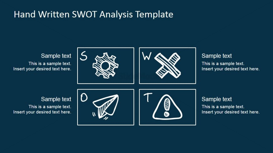 PowerPoint SWOT Matrix with Sketched Design