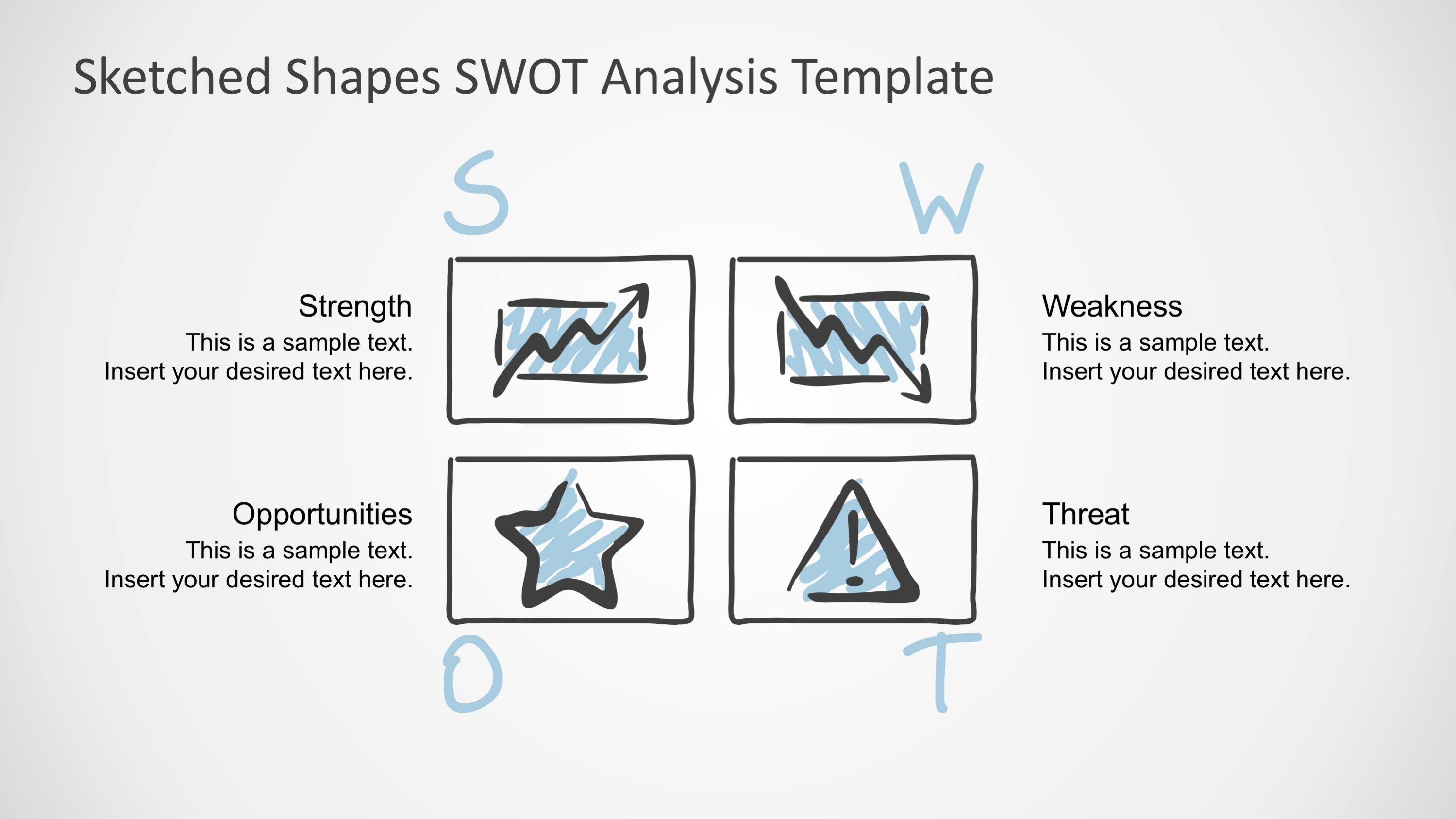 Sketched Shapes Swot Analysis Template Slidemodel