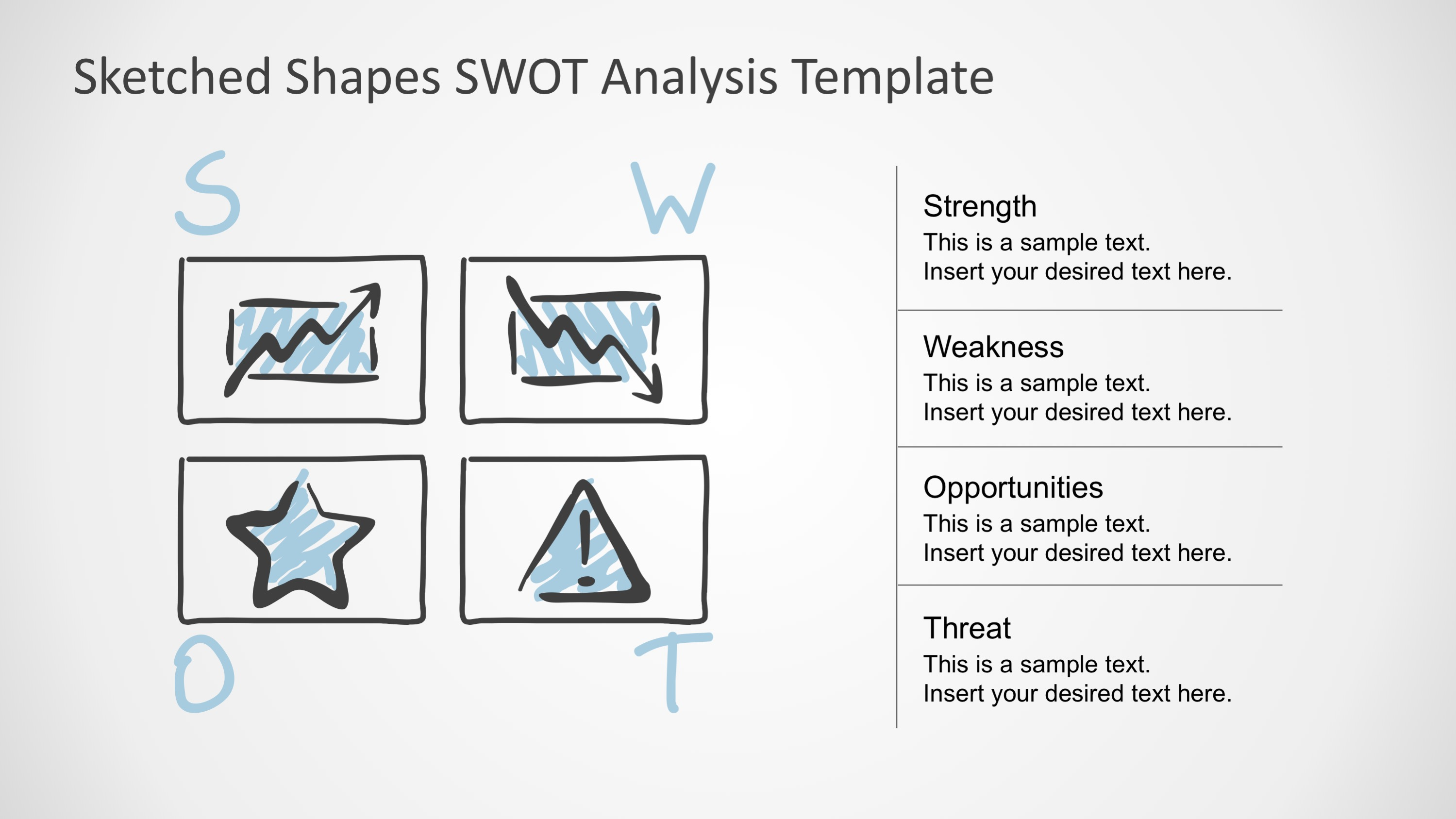 Sketched Design PowerPoint SWOT Template