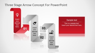 First Step Highlight Curved Arrow in PowerPoint