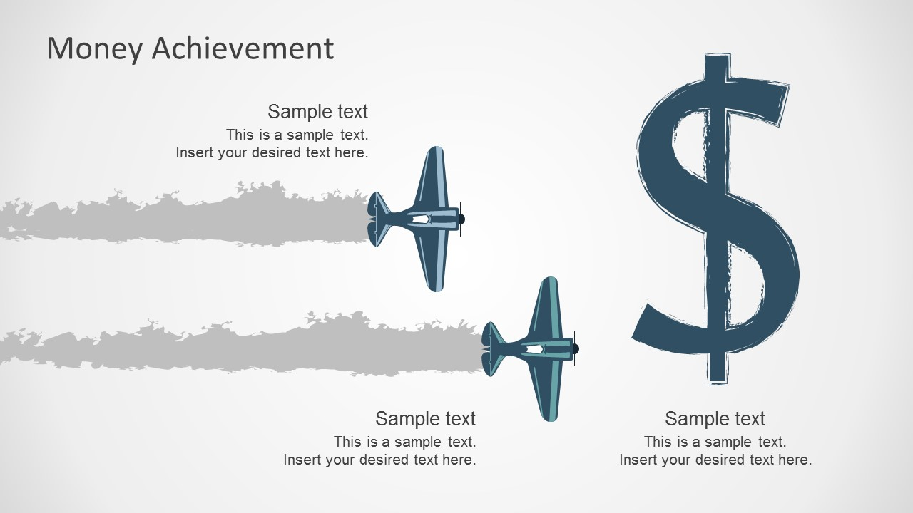 Free money achievement metaphor with planes free money success powerpoint templates alramifo Gallery