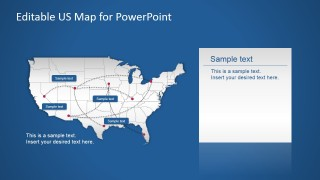 PPT Map for PowerPoint of US with Routes